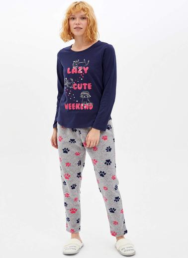 DeFacto Baskılı Örme Pijama Takımı Gri